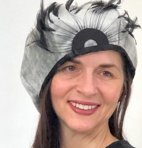 Silver Peacock Cloche-Style Hat